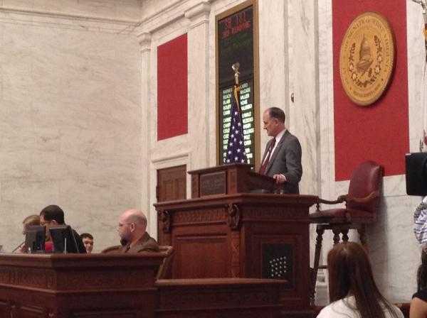 Senate President Jeff Kessler oversees a floor session Monday, Feb. 24, 2014.