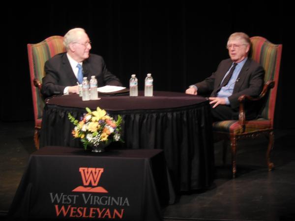 Sen. Jay Rockefeller sits with journalist Ted Koppel during a forum on West Virginia Wesleyan's campus.