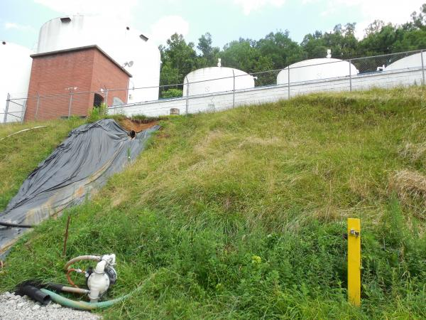 A view from the bank below the tank farm. Below my feet is the stormwater trench that overflowed on June 12 and 13.