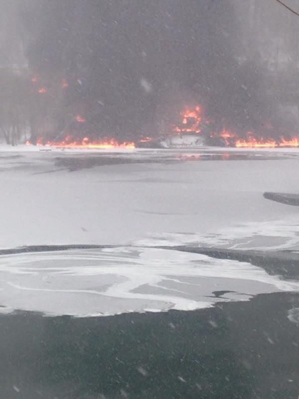 Train Derails in Fayette County, Leaks Crude Oil Into