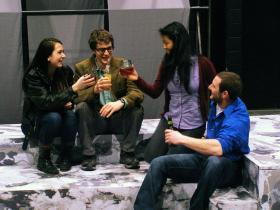 Kelsey Secules, Alex Garretson, Lani Fu and Nate Jackson rehearse