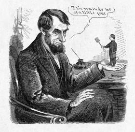Political cartoon of Abraham Lincoln