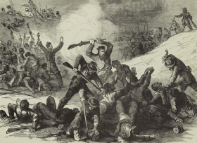 Confederate massacre of black Union troops after the surrender at Fort Pillow, April 12, 1864.