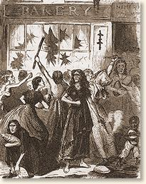 An illustration of the Richmond Bread Riot that appeared in Frank Leslie's Illustrated Newspaper May 3, 1863.