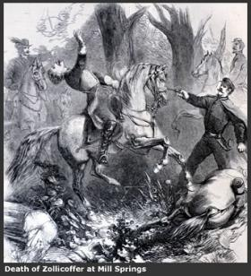 Illustration of the death of Zollicoffer at Mill Springs