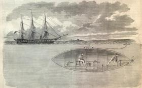 Illustration of a hand crank Civil War submarine