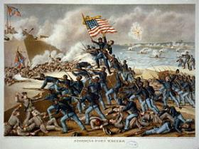 Lithograph of the storming of Ft. Wagner