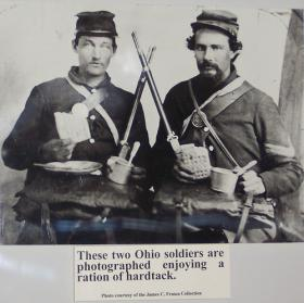 Union soldiers share hardtack