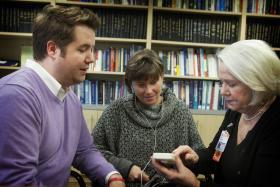 (l-r) Nursing Professor Joel Anderson, Ph.D, Nursing Student Bridget Houlahan, and Nursing Professor Ann Gill Taylor.