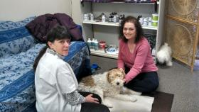 Dr. Marge Lewter works with Cathy Leatherwood and her dog, Mississippi.