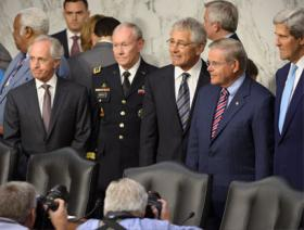 Chairman Menendez presides over a hearing with Secretary Kerry, Secretary Hagel and General Dempsey on the situation in Syria.