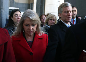 The McDonnells leave U.S. District Court in the Eastern District of Virginia.
