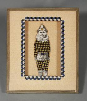 "Joseph Cornell, ""Untitled (Harlequin Jumping Jack),"" c. 1935-38. Box construction, 13 7/8 in. x 12 1/8 x 2 1/2 in. Gift of The Joseph and Robert Cornell Memorial Foundation. The Fralin Museum of Art at the University of Virginia. Art © The Joseph and Robert Cornell Memorial Foundation/Licensed by VAGA, New York, NY."