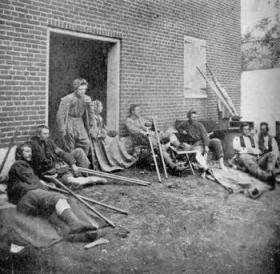 "Some of the 26,000 Union wounded from Wilderness and Spotsylvania who passed through  Fredericksburg in May 1864, turning the town into a ""City of Hospitals."""