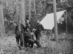 Photograph of Union Generals Winfield S. Hancock, Francis C. Barlow, David B. Birney, and John Gibbon, taken during the Overland Campaign.
