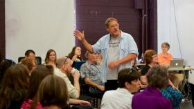 CATF founder Ed Herendeen addresses artists at an early reading of this year's plays.