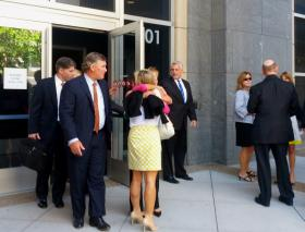 Federal prosecutors leave the Courthouse