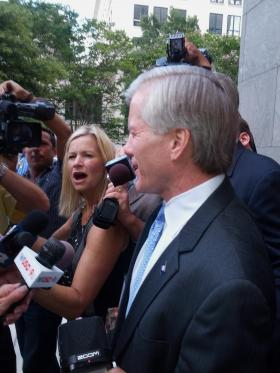 Former Governor McDonnell speaks briefly to reporters.