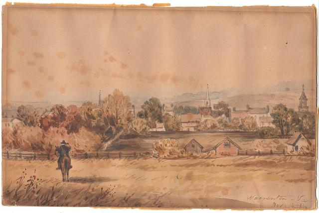 Watercolor Painting of Warrenton During Civil War; 1862