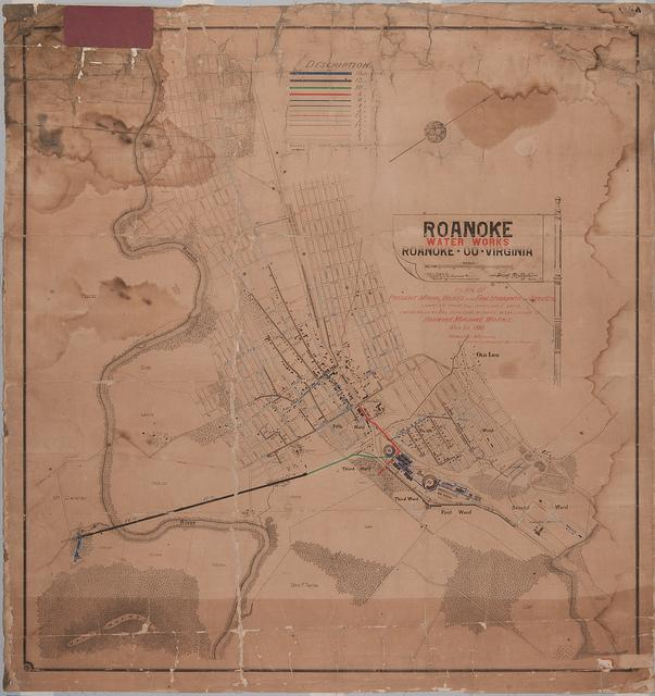 Water Works Map of Roanoke; Lithograph 1888