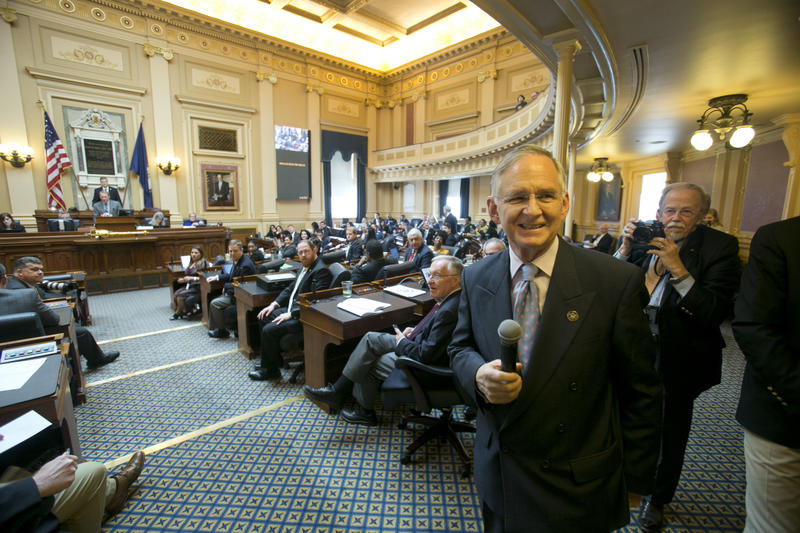 Virginia Senate majority leader, State Sen. Thomas Norment, smiles as he announces to the House that the Senate is ready to adjourn the 2018 session of the Virginia General Assembly.