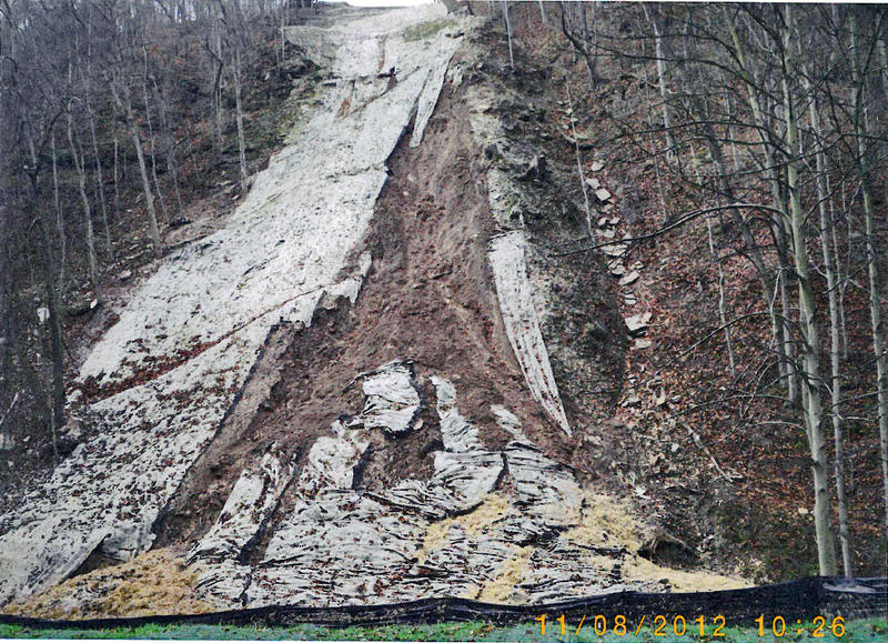 Slope failure along the path of a Dominion pipeline in West Virginia