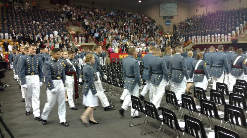 VMI Cadets enter Cameron Hall at the start the ceremony.