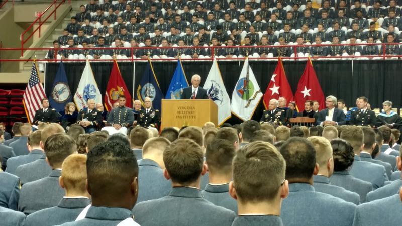 Rex Tillerson addresses VMI graduates.