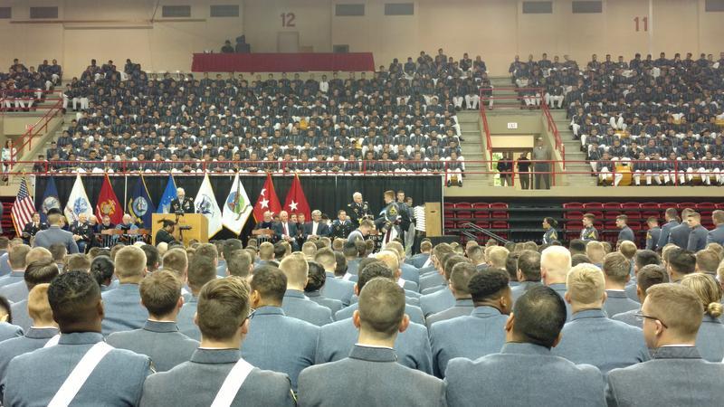 Virginia Military Institute graduates receive their diplomas.