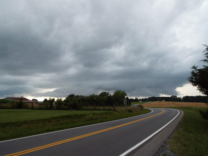 The view of the base of a severe-warned thunderstorm along VA Route 43 in Bedford County.