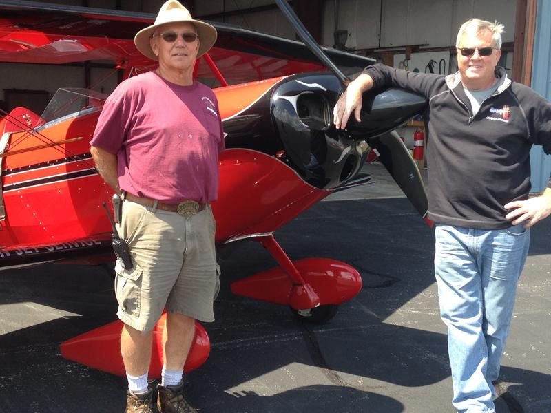As chairman of the airport authority, Paul HJowell (left) welcomes visiting stunt pilot Clemens Kuhlig from Florida.
