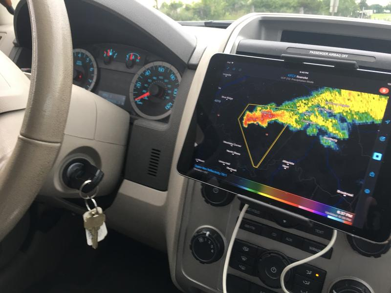 The view from inside Chris White's chasing vehicle -- mobile radar and all.