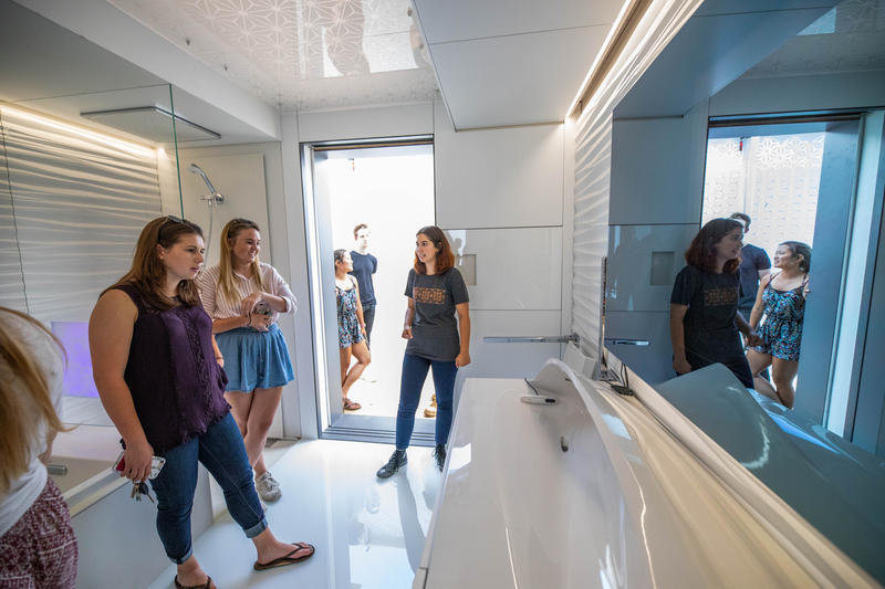 FutureHAUS' bathroom, which includes a custom, 3D-printed sink that adjusts to the height of the user.