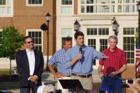 Ryan's political foundations were formed at Miami with help from Prof. Rich Hart (left). He's pictured here with Gov. John Kasich (center) and Sen. Rob Portman.