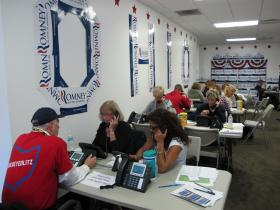 Volunteers staffing a phone bank at Romney campaign headquarters in Columbus Tuesday morning.
