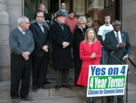 Issue 4 supporters hold a victory rally on the steps of Cincinnati City Hall.