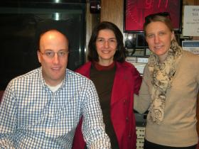 Dr. Randy Seeley, Dr. Marzieh Salehi and Erin Crosby in the WVXU studios