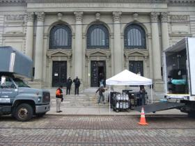 "Memorial Hall during filming for ""Ides of March."""