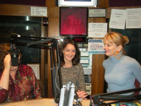 Polly Campbell, Courtney Tsitouris and Donna Covrett in the WVXU studios.