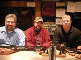 Dr. Mark Kalfas, Bill Mark and Sgt. Chris Conners in the WVXU studios