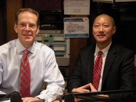 Geoffrey Mearns and Santa Ono in the WVXU studios