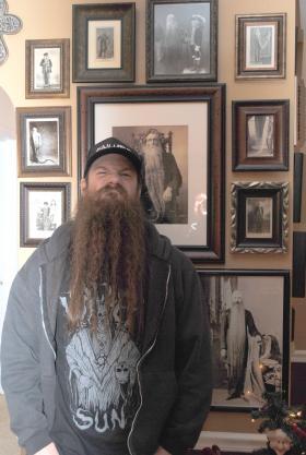 Matt Bischoff and his 'beard wall' in his home in Cincinnati