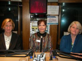Moira Weir, Monica Kuhlman and Cherie McCarthy in the WVXU studios