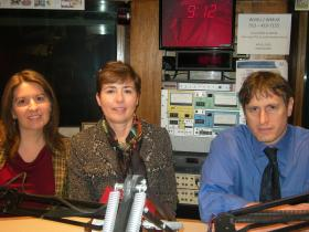 Dr. Cricket Meehan, Julie Wilson and Dr. Cal Adler in the WVXU Studios.