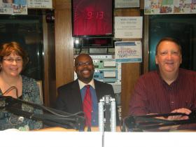 Carol Juniet, Dr. Madison Cuffy and Kevin Reynolds in the WVXU studios