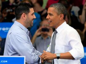 Andrew Hounshell introduced President Obama at an Eden Park rally last fall.
