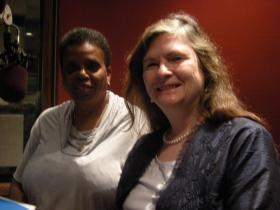 Carolyn Jones and Diana McIntosh in the WVXU studios