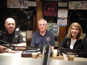 Sgt. Greg Lewton, Michael Snowden and Iris Simpson-Bush in the WVXU studios
