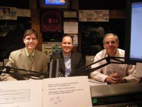 Bill Froude, Kevin Hardy and Michael Goldman in the WVXU studios