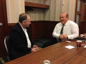 Jim Bowman (left), a Cincinnati consultant to companies doing business with Asia, and Roy Kamphausen, senior associate NBR discuss how to better protect intellectual property.